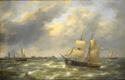 Sailing on a choppy sea | Charles Louis Verboeckhoven | Oil Painting