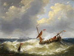 Shipping in choppy waters | Charles Louis Verboeckhoven | Oil Painting