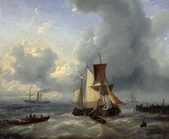 Shipping off a Jetty | Charles Louis Verboeckhoven | Oil Painting