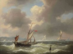 Shipping on rough waters | Charles Louis Verboeckhoven | Oil Painting