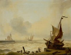 Small boats struggling in a heavy swell off the harbour mouth | Charles Louis Verboeckhoven | Oil Painting