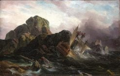 The shipwreck of a schooner | Charles Louis Verboeckhoven | Oil Painting