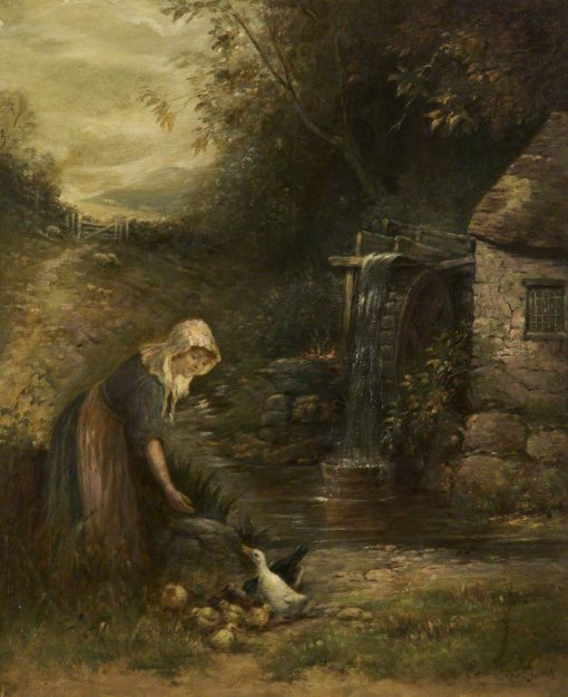 Girl at the Mill Wheel   Ernest Walbourn   Oil Painting