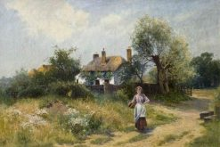 Landscape with a Cottage and a Woman | Ernest Walbourn | Oil Painting