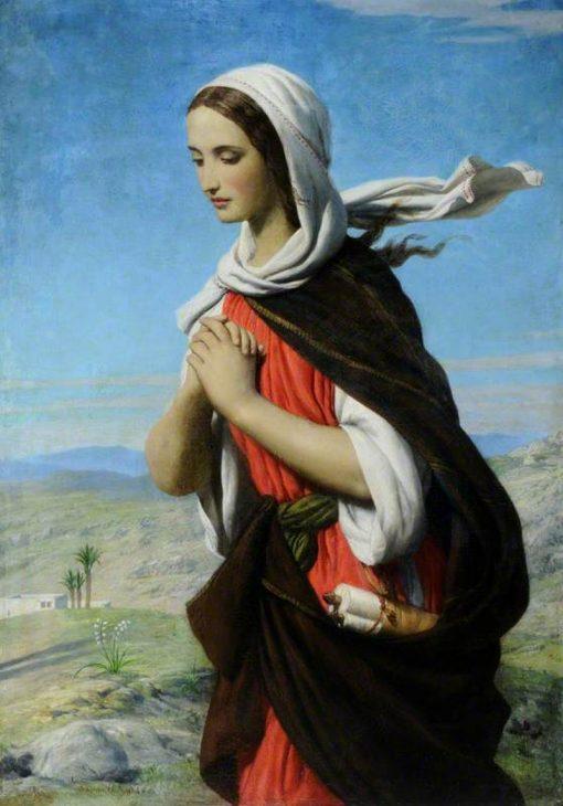 Biblical Female Figure in the Desert (possibly Mary Magdalene)   John Rogers Herbert   Oil Painting