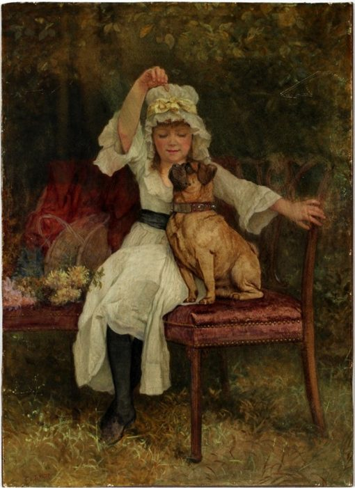 Girl and Pug   Edward Killingworth Johnson   Oil Painting