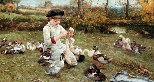Feeding the Ducks | Edward Killingworth Johnson | Oil Painting
