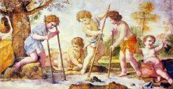 Boys fishing | Giovanni Francesco Romanelli | Oil Painting