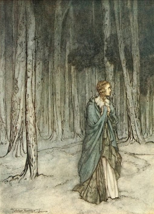 The Lady Enters the Forest (illustartion for Miltons Comus) | Arthur Rackham | Oil Painting