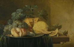 Still Life with a Whole and a Halved Peach on a Pewter Plate | Jan Davidsz. de Heem | Oil Painting