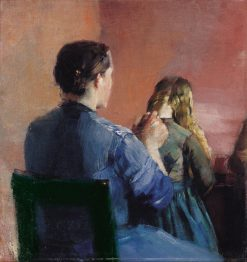 A mother plainting her little daughters hair | Christian Krohg | Oil Painting