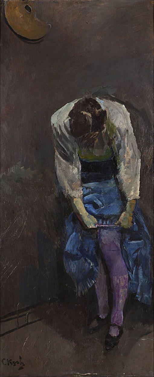 Girl who binds her garter | Christian Krohg | Oil Painting