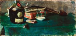 Still life with a D.O.M. Bottle | Christian Krohg | Oil Painting