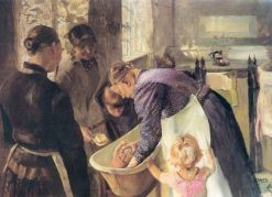Bathing the Baby | Christian Krohg | Oil Painting