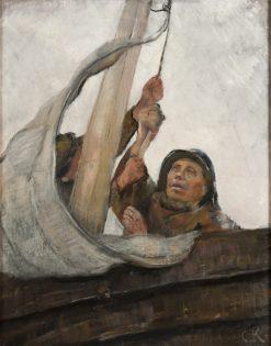 Setting Sail   Christian Krohg   Oil Painting