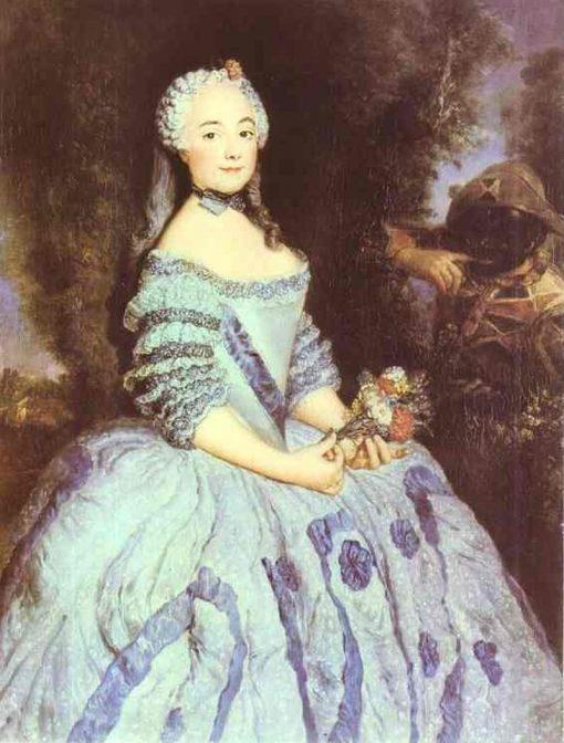 Portrait of the Actress Babette Cochois   Antoine Pesne   Oil Painting