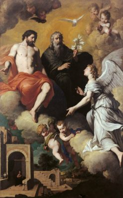 The Holy Trinity Sends Archangel Gabriel to Virgin Mary | Pietro Novelli | Oil Painting