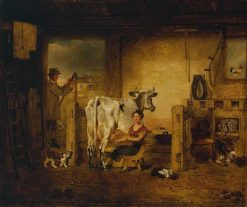 Interior of a Barn with a Milkmaid and Farm Labourer | Benjamin Marshall | Oil Painting