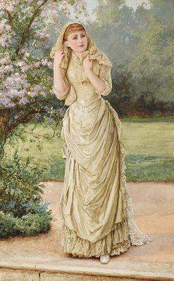 Lady in a Garden | Edward Killingworth Johnson | Oil Painting