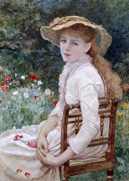 Young Lady Seated in the Garden | Edward Killingworth Johnson | Oil Painting
