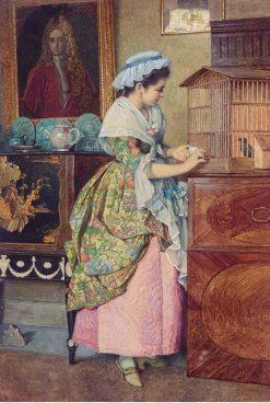 The pet bird | Edward Killingworth Johnson | Oil Painting