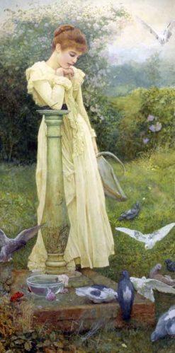 Feeding the Doves | Edward Killingworth Johnson | Oil Painting