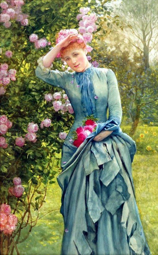 Picking Roses   Edward Killingworth Johnson   Oil Painting