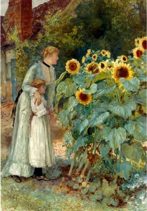 Watching the butterflies | Edward Killingworth Johnson | Oil Painting