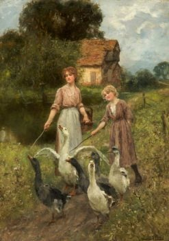 Girls Herding Geese | Henry John Yeend King | Oil Painting