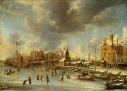 Skaters in front of the Paalhuis | Jan Abrahamsz Beerstraten | Oil Painting