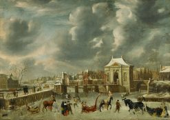 Canal with Heiligeweg Gate in Winter | Jan Abrahamsz Beerstraten | Oil Painting