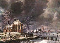 Village of Nieukoop in Winter with Child Funeral | Jan Abrahamsz Beerstraten | Oil Painting