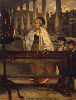 Vow. A Woman Lighting Candles | Jan August Hendrik Leys | Oil Painting