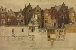 Houses on the Handschoenmarkt | Jan August Hendrik Leys | Oil Painting