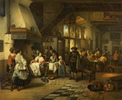 Interior of a Tavern with a Blind Fiddler | Jan August Hendrik Leys | Oil Painting