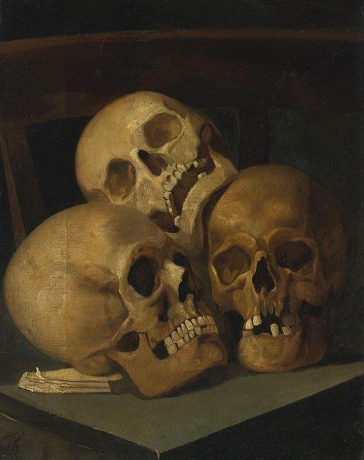 Still Life of Three Skulls   Jan August Hendrik Leys   Oil Painting
