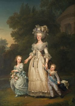 Queen Marie Antoinette of France and two of her Children Walking in The Park of Trianon | Adolf Ulrik Wertmuller | Oil Painting