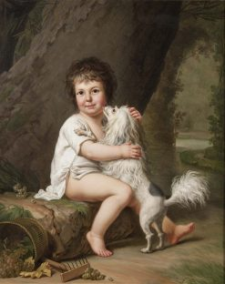 Two-year-old Henri Bertholet-Campan with his dog Aline | Adolf Ulrik Wertmuller | Oil Painting