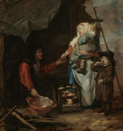 An old woman selling pancakes to a mother with children   Gabriël Metsu   Oil Painting