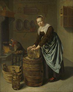 Woman scouring a vessel | Willem van Odekercken | Oil Painting