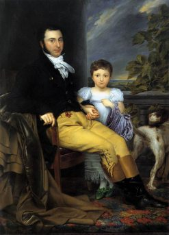 Portrait of a Prominent Gentleman with his Daughter and Hunting Dog | Joseph-Denis Odevaere | Oil Painting