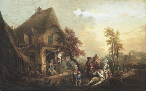 Landscape with a house and music-making company | Elias Martin | Oil Painting