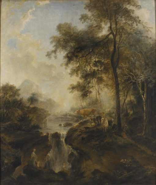Landscape with a Waterfall and Cattle | Elias Martin | Oil Painting