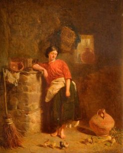 A Woman Watching Chickens | Alfred Provis | Oil Painting