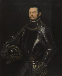 Portrait of a Young Bearded Man Wearing Armor | Tintoretto | Oil Painting