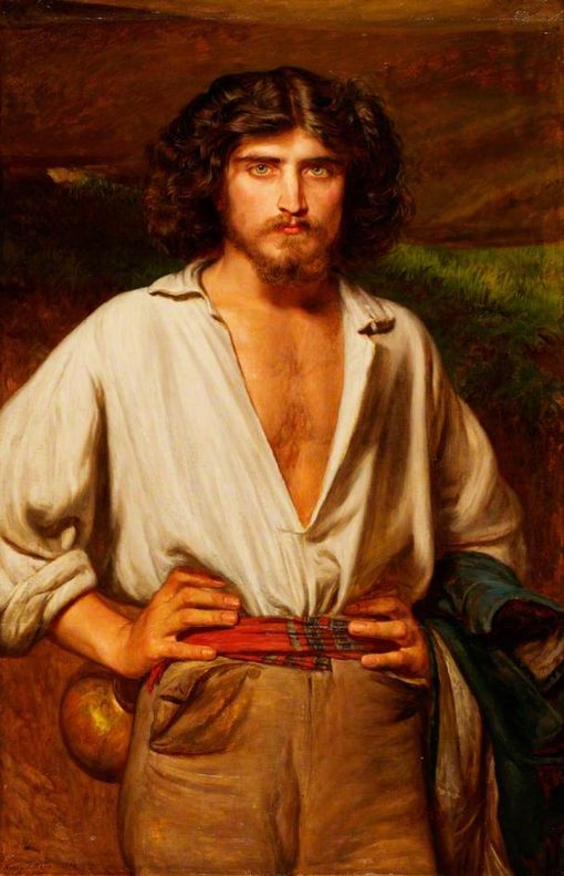 Man with a Beard and Open-Necked Shirt | Henry Tanworth Wells | Oil Painting