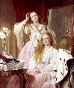 Portrait of Emma and Federica Bankes of Soughton Hall at their dressing table | Henry Tanworth Wells | Oil Painting
