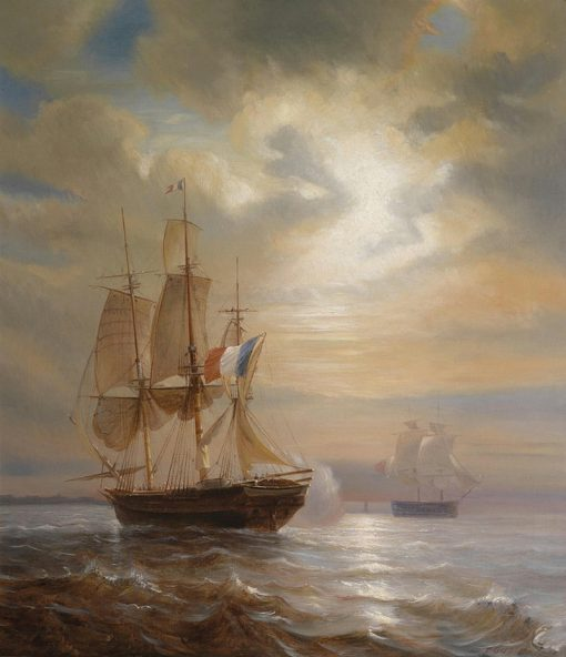 Sailing Ships at Dusk | Theodore Gudin | Oil Painting