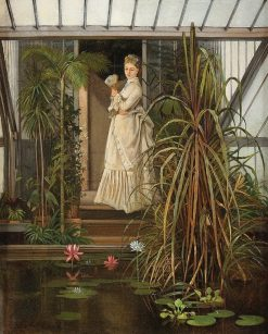 Elegant Lady in a Greenhouse | Camille-Leopold Cabaillot Lassalle | Oil Painting