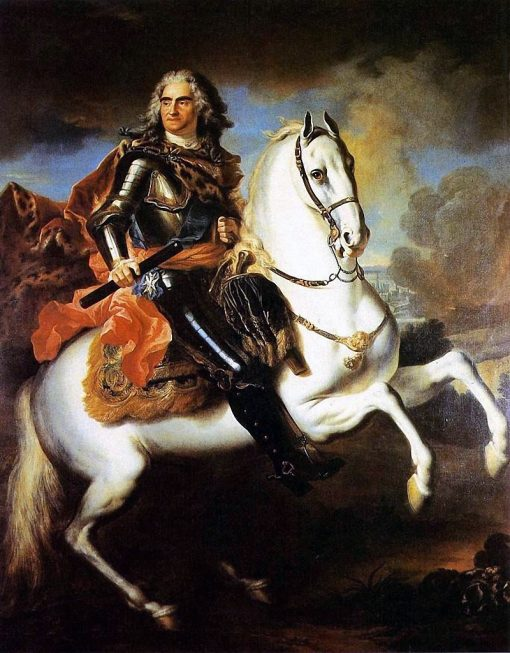 Equestrian portrait of August II the Strong | Louis de Silvestre | Oil Painting